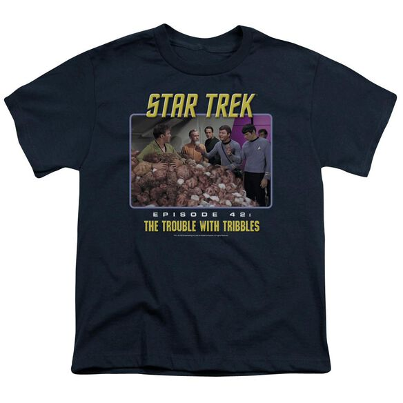 ST:ORIGINAL THE TROUBLE WITH TRIBBLES - S/S YOUTH 18/1 - NAVY T-Shirt