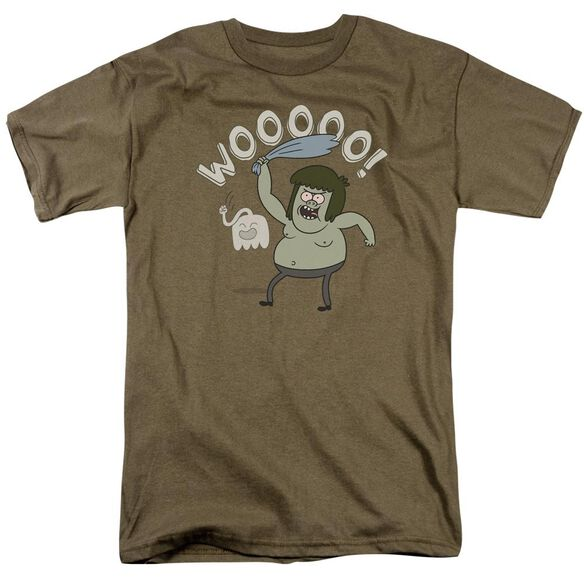 Regular Show Wooooo Short Sleeve Adult Safari Green T-Shirt