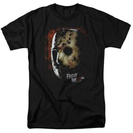 Friday The 13 Th Mask Of Death Short Sleeve Adult Black T-Shirt