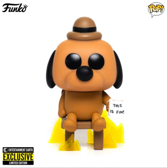 Funko Pop! This Is Fine Dog - Entertainment Earth Exclusive