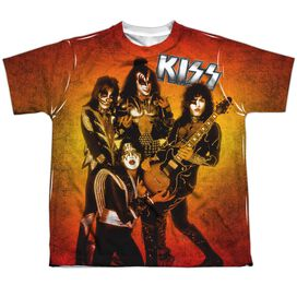 Kiss Fire Pose Short Sleeve Youth Poly Crew T-Shirt