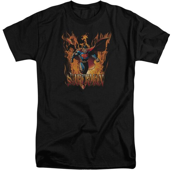 Superman Through The Fire Short Sleeve Adult Tall T-Shirt