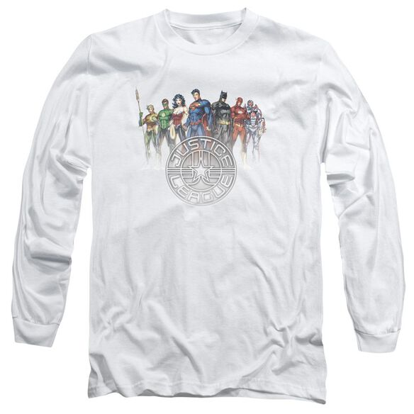 Jla Circle Crest Long Sleeve Adult T-Shirt