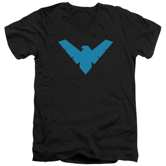 BATMAN NIGHTWING SYMBOL - S/S ADULT V-NECK - BLACK T-Shirt