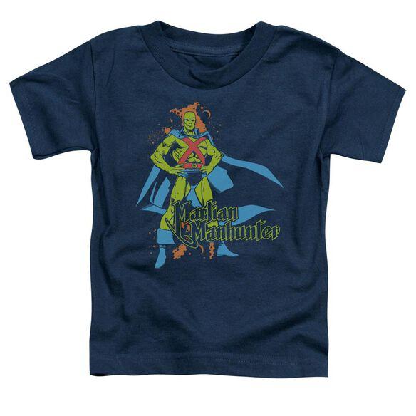 Dc Martian Manhunter Short Sleeve Toddler Tee Navy Lg T-Shirt