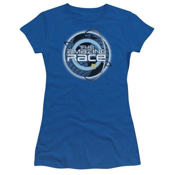 Amazing Race Around The Globe Short Sleeve Junior Sheer Royal T-Shirt