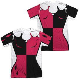 Batman The Animated Series Harley Uniform (Front Back Print) Short Sleeve Adult Poly Crew T-Shirt