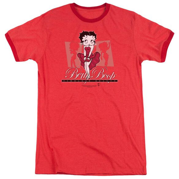 Betty Boop Timeless Beauty Adult Heather Ringer Red