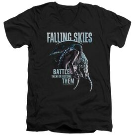 Falling Skies Battle Or Become Short Sleeve Adult V Neck T-Shirt