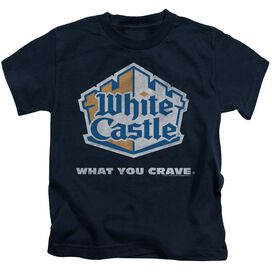 White Castle Distressed Logo Short Sleeve Juvenile Navy T-Shirt