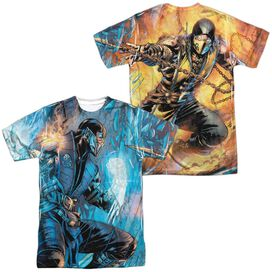 Mortal Kombat Kombat Comic (Front Back Print) Short Sleeve Adult Poly Crew T-Shirt