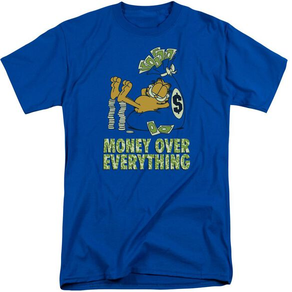 Garfield Money Is Everything Short Sleeve Adult Tall Royal T-Shirt