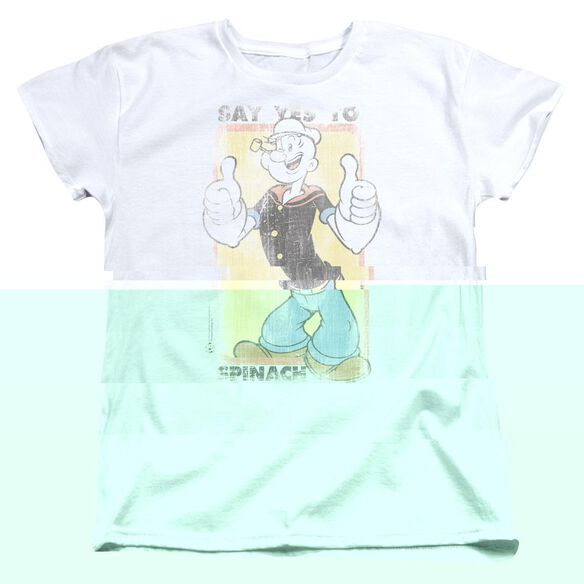 Popeye Say Yes To Spinach Short Sleeve Womens Tee T-Shirt