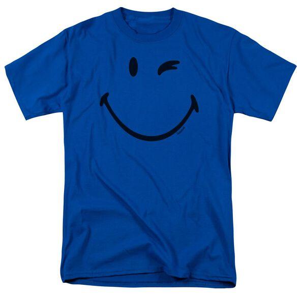 Smiley World Big Wink Short Sleeve Adult Royal Blue T-Shirt