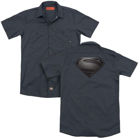 Man Of Steel Mos Desaturated (Back Print) Adult Work Shirt