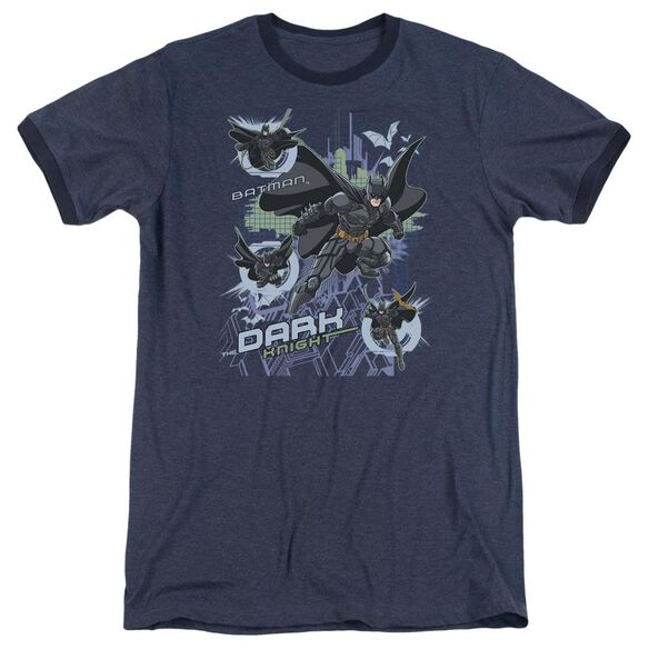 Dark Knight Attack From All Sides Adult Heather Ringer Navy