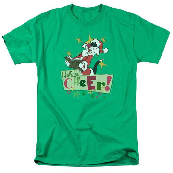 Looney Tunes Cheer Sylvester Short Sleeve Adult Kelly Green T-Shirt