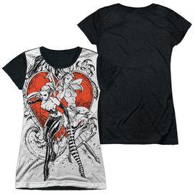 Zenoscope Bw Heart Short Sleeve Junior Poly Black Back T-Shirt