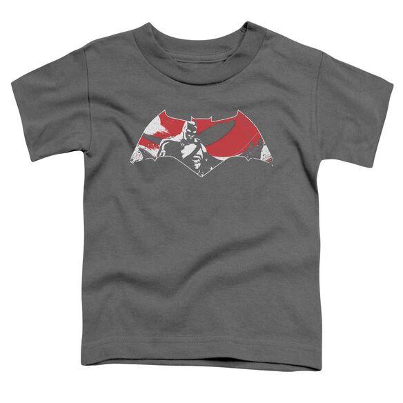 Batman V Superman Armor Splatter Logo Short Sleeve Toddler Tee Charcoal T-Shirt