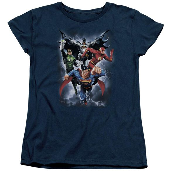 Jla The Coming Storm Short Sleeve Womens Tee T-Shirt