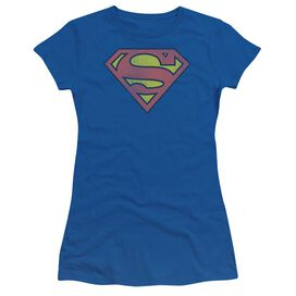 Dc Retro Supes Logo Distressed Short Sleeve Junior Sheer Royal T-Shirt