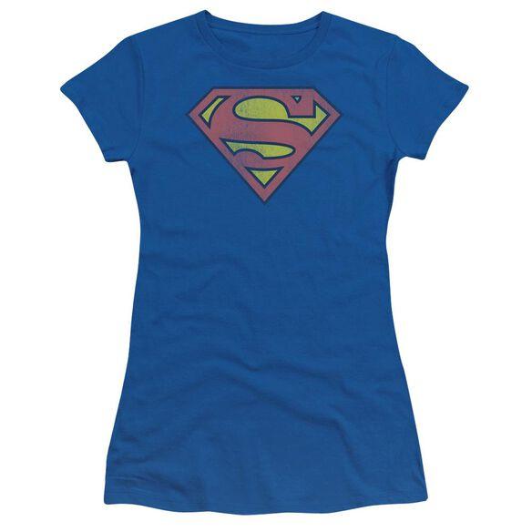 Dc Retro Supes Logo Distressed Short Sleeve Junior Sheer Royal T-Shirt