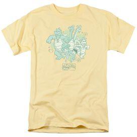 Dragon Tales Group Celebration Short Sleeve Adult Banana T-Shirt