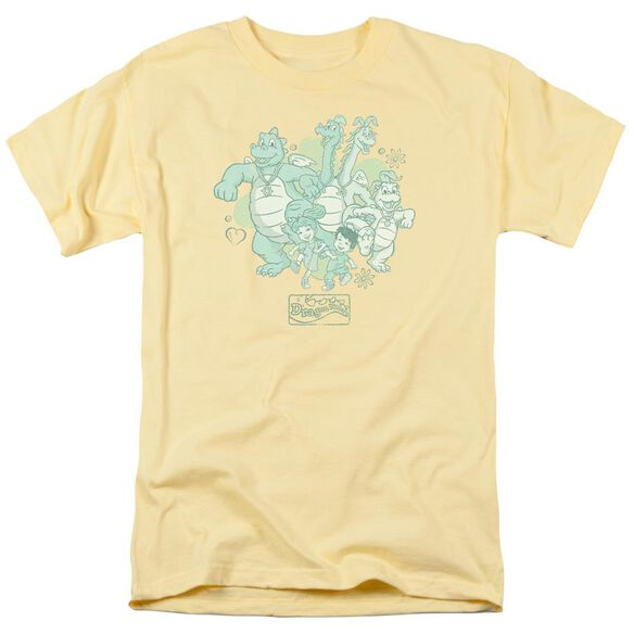 Dragon Tales Group Celebration Short Sleeve Adult Banana T-Shirt