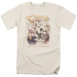 Cheers Here Here Short Sleeve Adult Cream T-Shirt