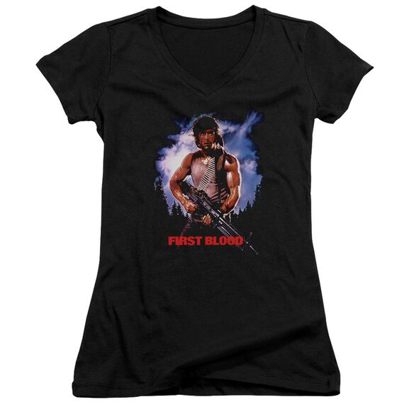 Rambo:First Blood Poster Junior V Neck T-Shirt
