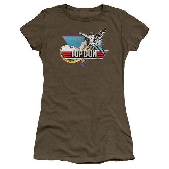Top Gun Distressed Logo Premium Bella Junior Sheer Jersey Military
