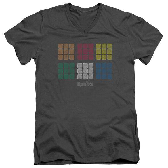 Rubik's Cube Minimal Squares Short Sleeve Adult V Neck T-Shirt