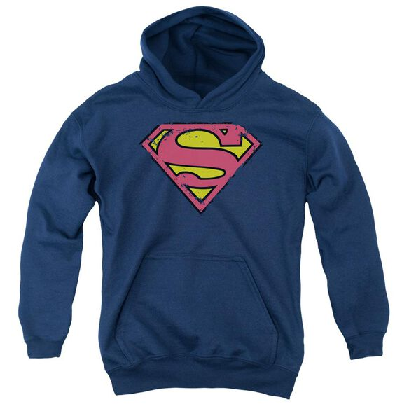 Superman Distressed Shield Youth Pull Over Hoodie