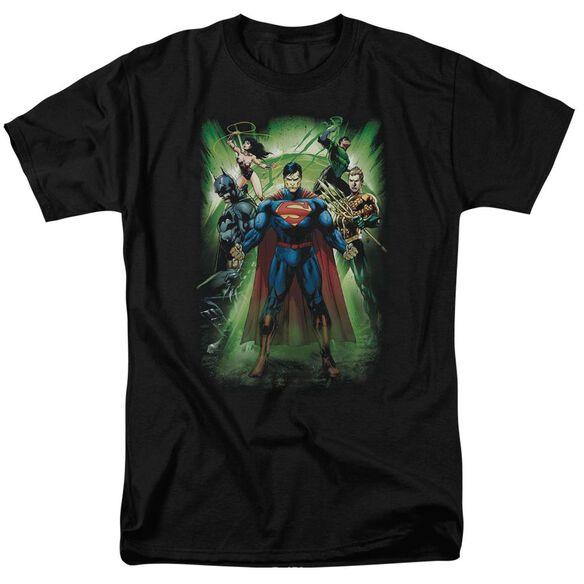 Jla Power Burst Short Sleeve Adult T-Shirt