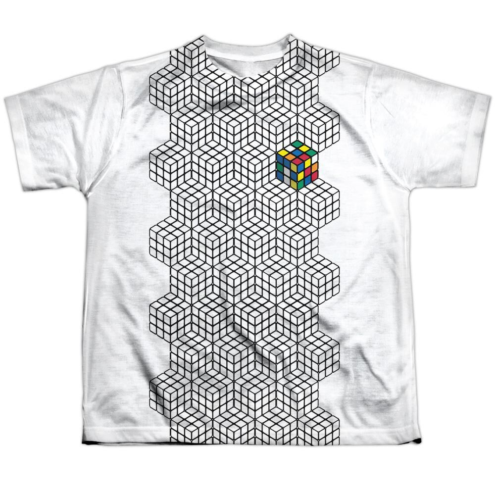 Rubiks Cube One Colored Short Sleeve Youth Poly Crew T Shirt White