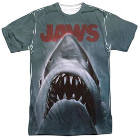 Jaws Poster Short Sleeve Adult 100% Poly Crew T-Shirt