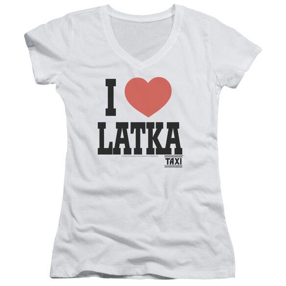 Taxi I Heart Latka - Junior V-neck - White