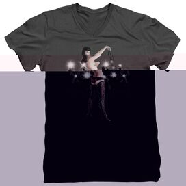 BETTIE PAGE PAPARAZZI - S/S ADULT V-NECK - CHARCOAL T-Shirt