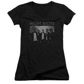 Night Riots Greyscale Junior V Neck T-Shirt