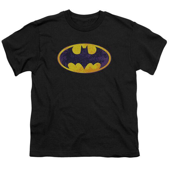 Batman Bm Neon Distress Logo Short Sleeve Youth T-Shirt