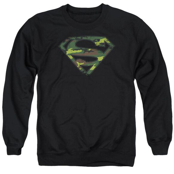 Superman Distressed Camo Shield Adult Crewneck Sweatshirt