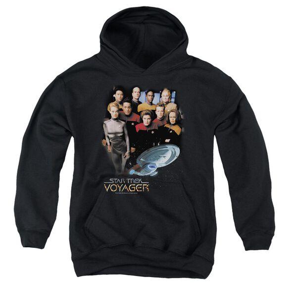 Star Trek Voyager Crew-youth Pull-over Hoodie - Black