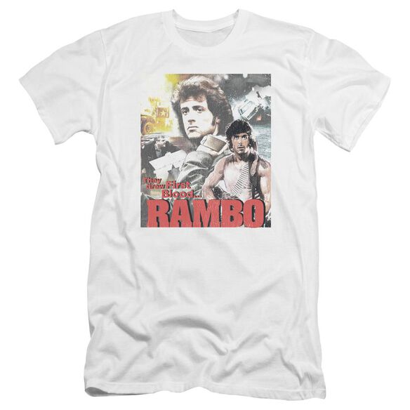 Rambo:First Blood They Drew Collage Premuim Canvas Adult Slim Fit
