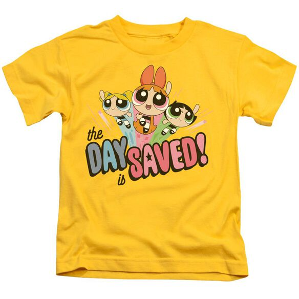 Powerpuff Girls The Day Is Saved Short Sleeve Juvenile Yellow T-Shirt