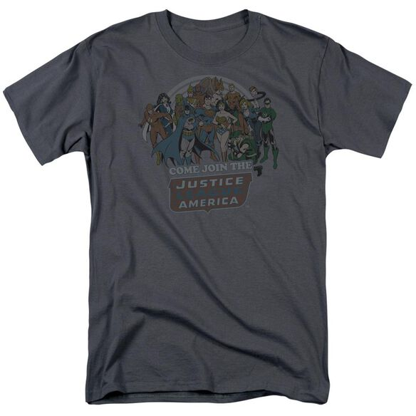 Dc Join The Justice League Short Sleeve Adult Charcoal T-Shirt