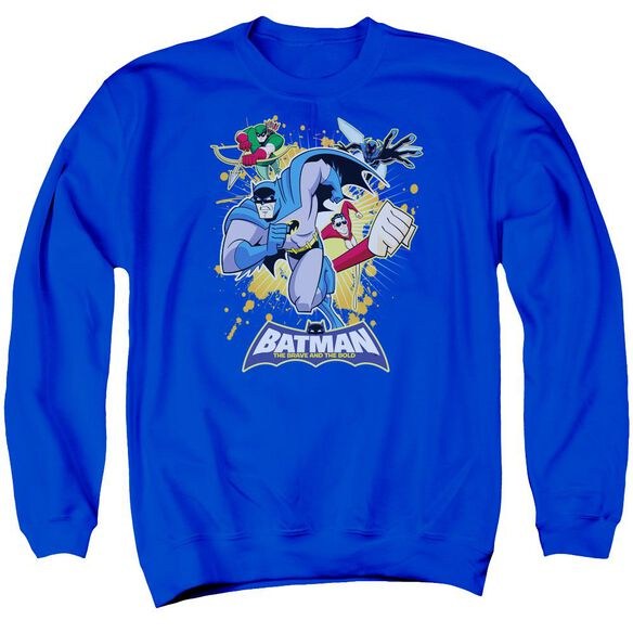 Batman Bb Burst Into Action Adult Crewneck Sweatshirt Royal