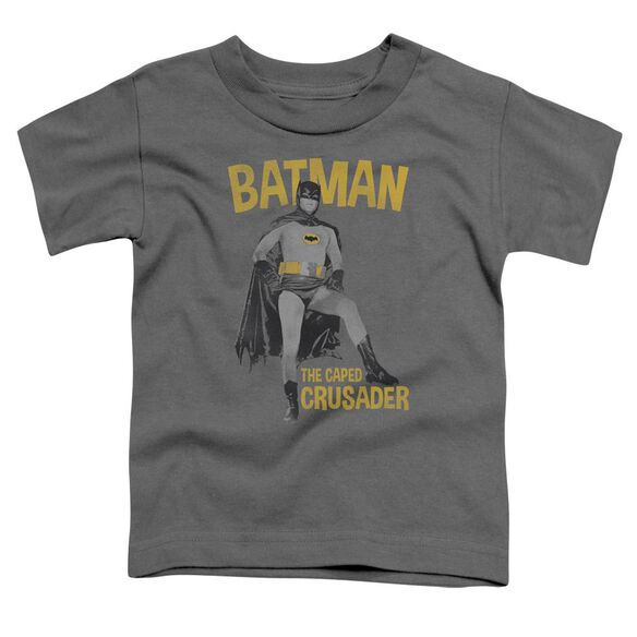 Batman Classic Tv Caped Crusader Short Sleeve Toddler Tee Charcoal T-Shirt