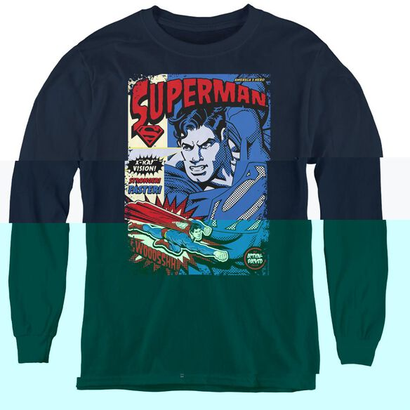 Superman Action Packed - Youth Long Sleeve Tee - Navy