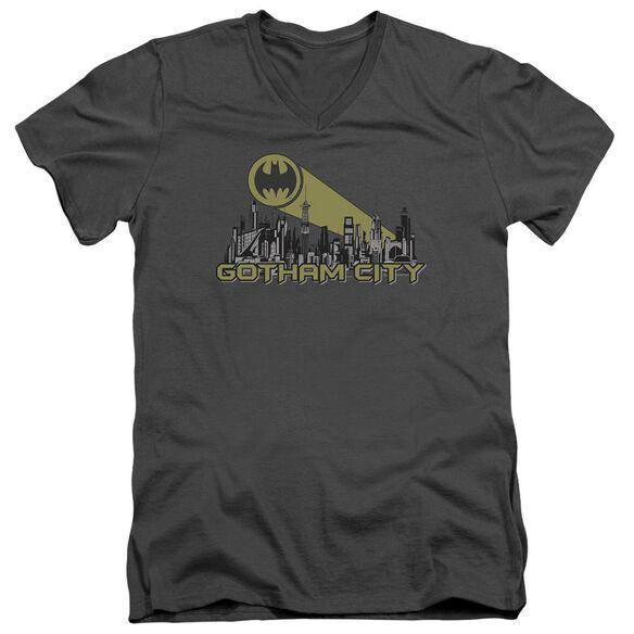 Batman Gotham Skyline Short Sleeve Adult V Neck T-Shirt