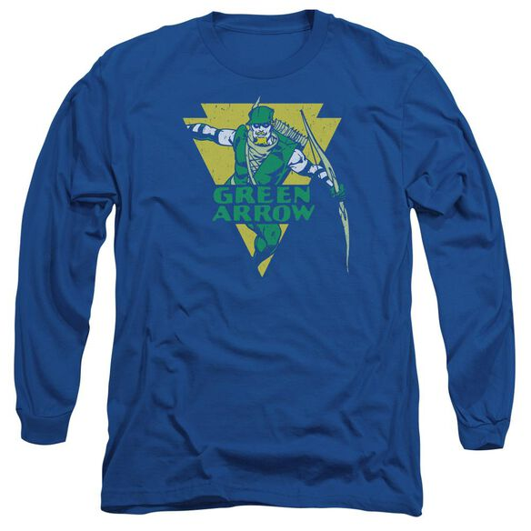 Dc Distressed Arrow Long Sleeve Adult Royal T-Shirt